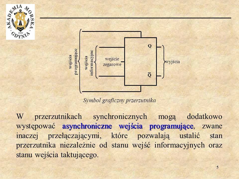 5 asynchroniczne wejścia programujące W przerzutnikach synchronicznych mogą dodatkowo występować asynchroniczne wejścia programujące, zwane inaczej pr