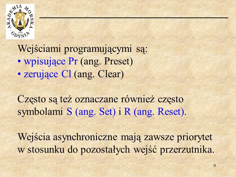 6 Wejściami programującymi są: wpisujące Pr (ang. Preset) zerujące Cl (ang. Clear) Często są też oznaczane również często symbolami S (ang. Set) i R (