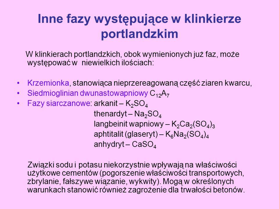 Inne fazy występujące w klinkierze portlandzkim W klinkierach portlandzkich, obok wymienionych już faz, może występować w niewielkich ilościach: Krzem