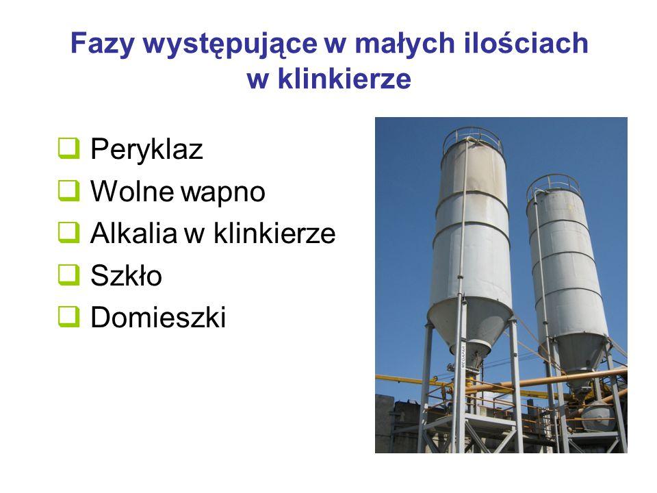 Efekty cieplne hydratacji Ciepło hydratacji czystych składników mineralnych wynosi: Alit C 3 S: 500 J/g Belit C 2 S: 250 J/g Glinian trójwapniowy C 3 A:800 J/g Faza glinożelazianowa C 4 AF: 400 J/g