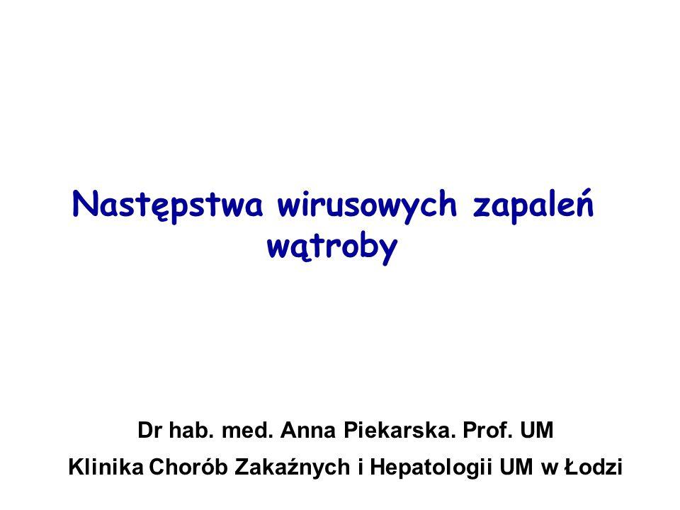 Przewlekłe zakażenie HBV (fazy przebiegu) – cz.II 4.HBeAg-ujemne przewlekłe zapalenie watroby: HBsAg+, HBeAg-,anty-HBe+, ↑↓ HBV- DNA, ↑↓ ALAT, naprzemienne okresy zaostrzeń i remisji, u 0,5% przyp.
