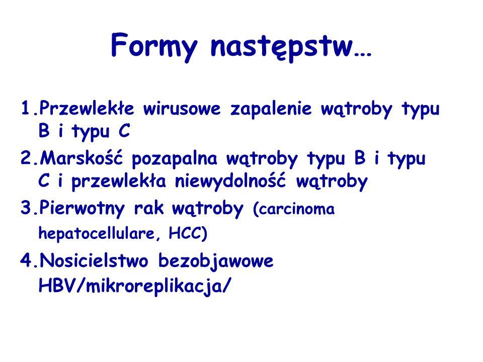 Diagnostyka przewlekłych zakażeń HBV i HCV Czas trwania zakażenia HBV/HCV < 3 miesięcy - Hepatitis virusalis B/C /acuta/ < 6 miesięcy - Hepatitis virusalis protracta B/C > 6 miesięcy Hepatitis chronica B/C