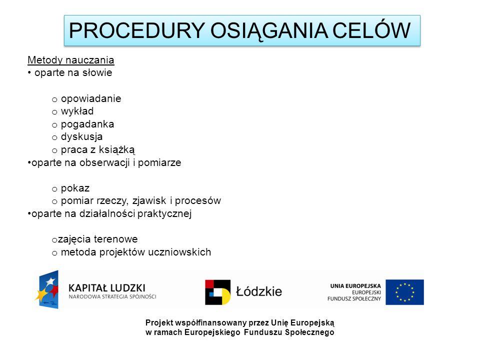 PROCEDURY OSIĄGANIA CELÓW Metody nauczania oparte na słowie o opowiadanie o wykład o pogadanka o dyskusja o praca z książką oparte na obserwacji i pomiarze o pokaz o pomiar rzeczy, zjawisk i procesów oparte na działalności praktycznej o zajęcia terenowe o metoda projektów uczniowskich Projekt współfinansowany przez Unię Europejską w ramach Europejskiego Funduszu Społecznego