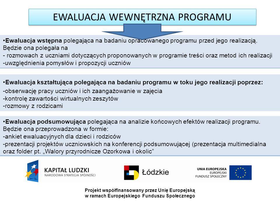 EWALUACJA WEWNĘTRZNA PROGRAMU Ewaluacja wstępna polegająca na badaniu opracowanego programu przed jego realizacją. Będzie ona polegała na - rozmowach