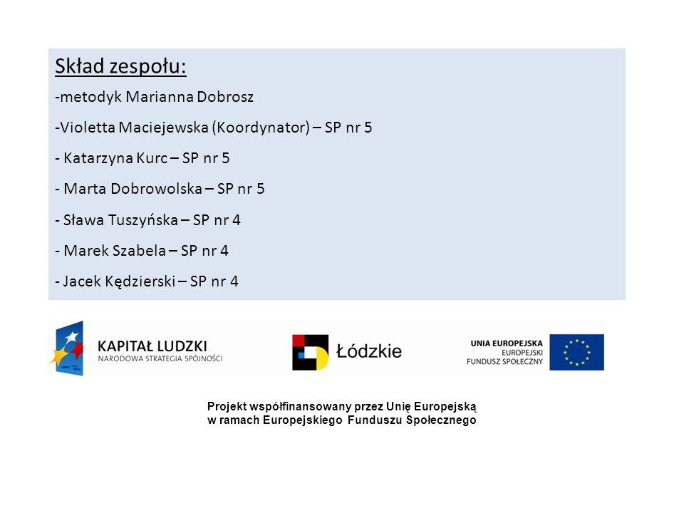 Skład zespołu: -metodyk Marianna Dobrosz -Violetta Maciejewska (Koordynator) – SP nr 5 - Katarzyna Kurc – SP nr 5 - Marta Dobrowolska – SP nr 5 - Sław