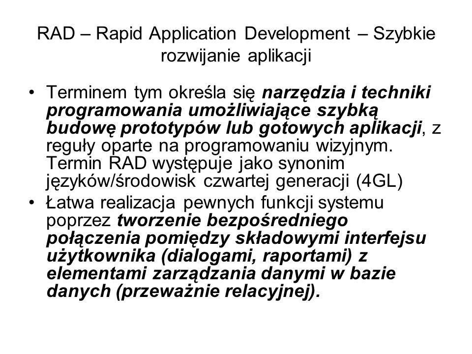 RAD – Rapid Application Development – Szybkie rozwijanie aplikacji Terminem tym określa się narzędzia i techniki programowania umożliwiające szybką budowę prototypów lub gotowych aplikacji, z reguły oparte na programowaniu wizyjnym.
