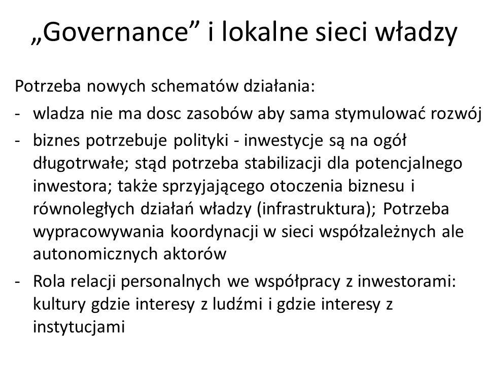 """""""Governance"""" i lokalne sieci władzy Potrzeba nowych schematów działania: -wladza nie ma dosc zasobów aby sama stymulować rozwój -biznes potrzebuje pol"""