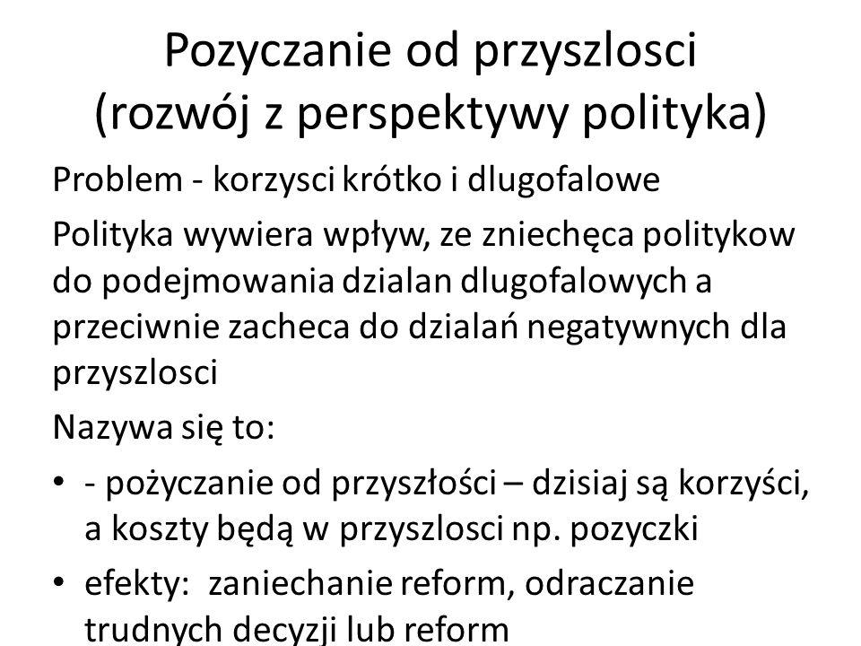 Pozyczanie od przyszlosci (rozwój z perspektywy polityka) Problem - korzysci krótko i dlugofalowe Polityka wywiera wpływ, ze zniechęca politykow do po