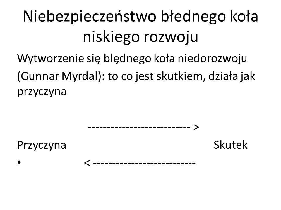Niebezpieczeństwo błednego koła niskiego rozwoju Wytworzenie się blędnego koła niedorozwoju (Gunnar Myrdal): to co jest skutkiem, działa jak przyczyna