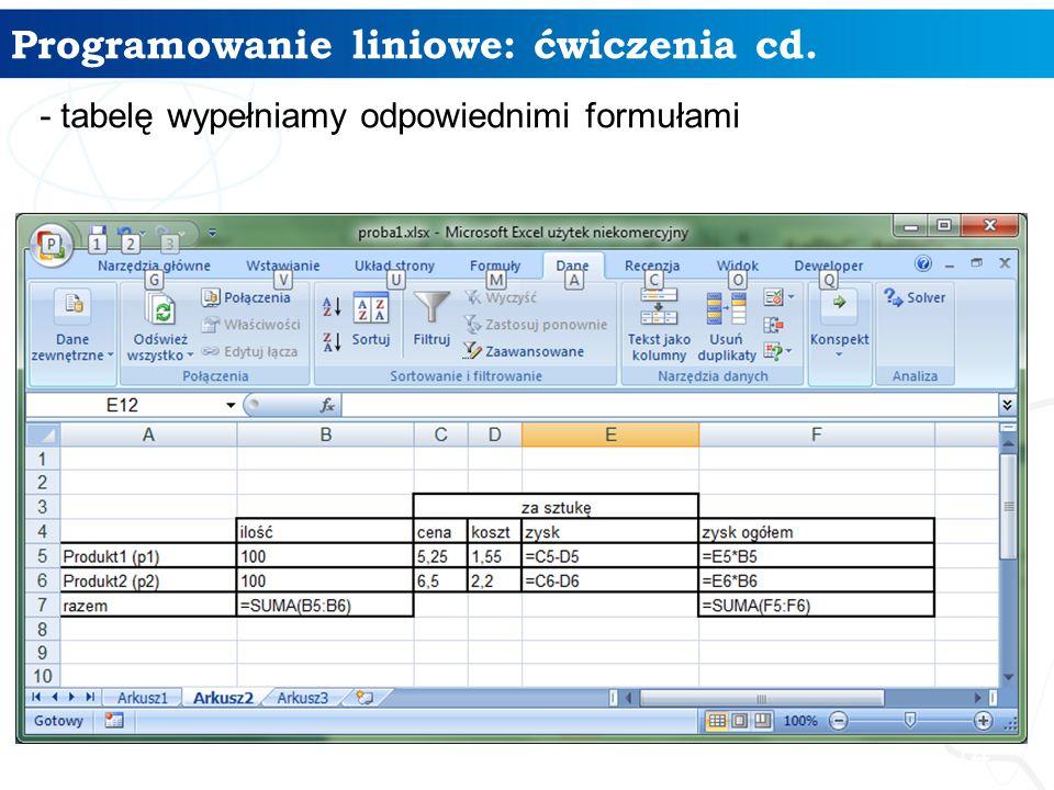 Programowanie liniowe: ćwiczenia cd. 14 - tabelę wypełniamy odpowiednimi formułami