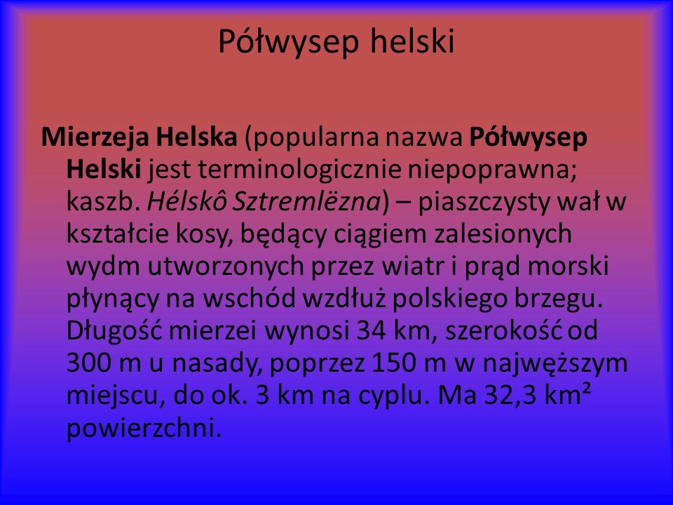 Półwysep helski Mierzeja Helska (popularna nazwa Półwysep Helski jest terminologicznie niepoprawna; kaszb.