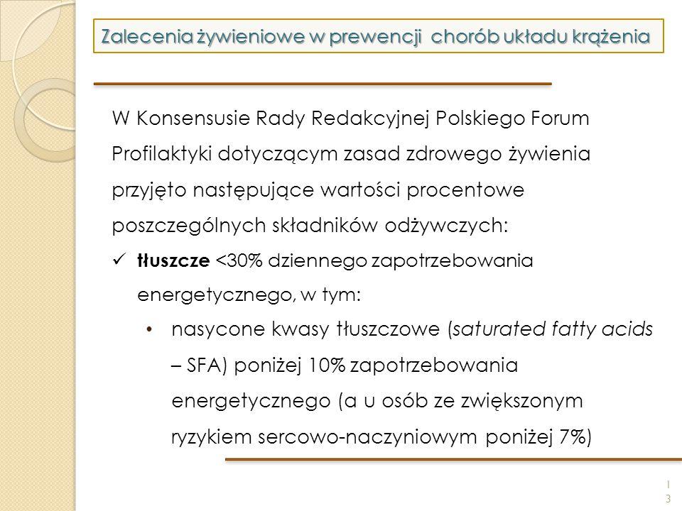 13 Zalecenia żywieniowe w prewencji chorób układu krążenia W Konsensusie Rady Redakcyjnej Polskiego Forum Profilaktyki dotyczącym zasad zdrowego żywie