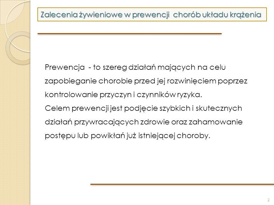 2 Zalecenia żywieniowe w prewencji chorób układu krążenia Prewencja - to szereg działań mających na celu zapobieganie chorobie przed jej rozwinięciem