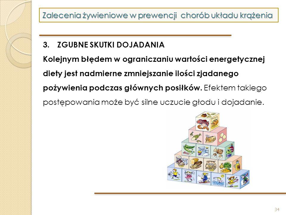 34 Zalecenia żywieniowe w prewencji chorób układu krążenia 3. ZGUBNE SKUTKI DOJADANIA Kolejnym błędem w ograniczaniu wartości energetycznej diety jest