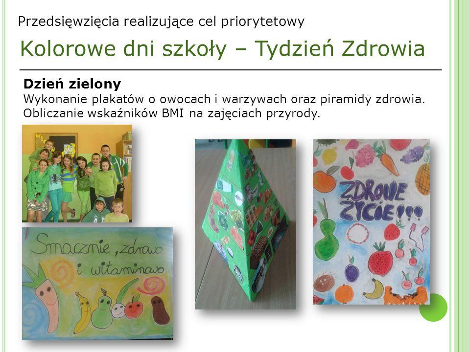 _________________________________________________________________ Przedsięwzięcia realizujące cel priorytetowy Kolorowe dni szkoły – Tydzień Zdrowia Dzień zielony Wykonanie plakatów o owocach i warzywach oraz piramidy zdrowia.