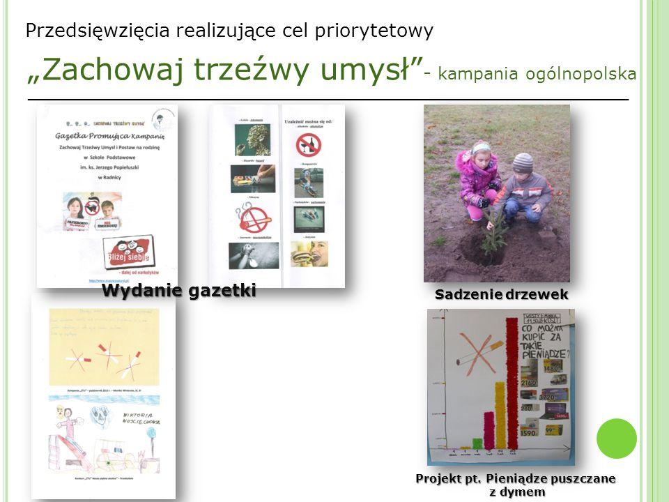 """_________________________________________________________________ Przedsięwzięcia realizujące cel priorytetowy """"Zachowaj trzeźwy umysł - kampania ogólnopolska Wydanie gazetki Projekt pt."""