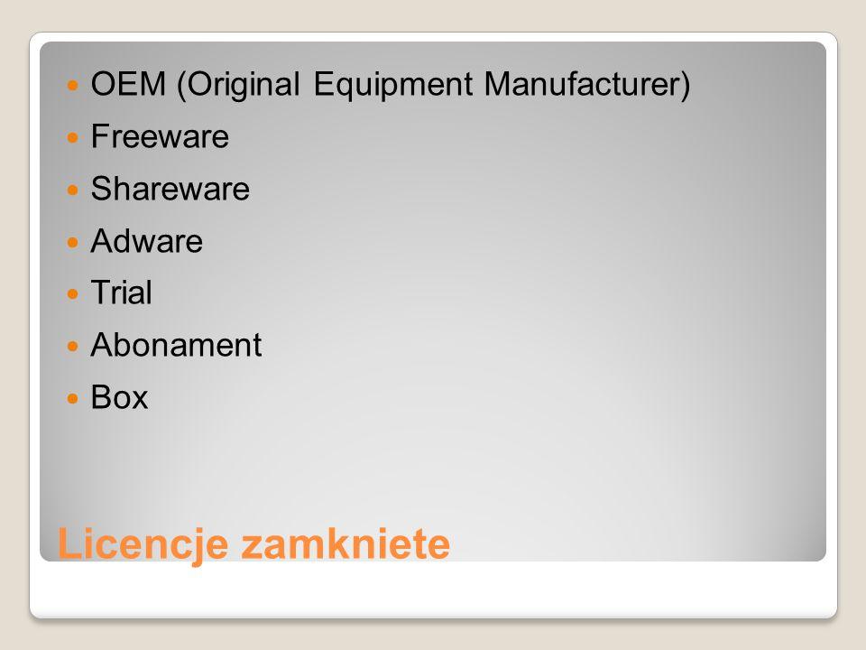 Licencje zamkniete OEM (Original Equipment Manufacturer) Freeware Shareware Adware Trial Abonament Box