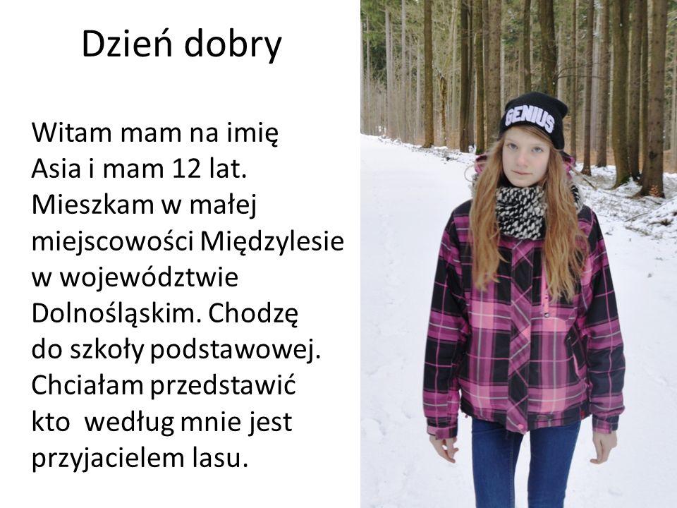 Dzień dobry Witam mam na imię Asia i mam 12 lat. Mieszkam w małej miejscowości Międzylesie w województwie Dolnośląskim. Chodzę do szkoły podstawowej.