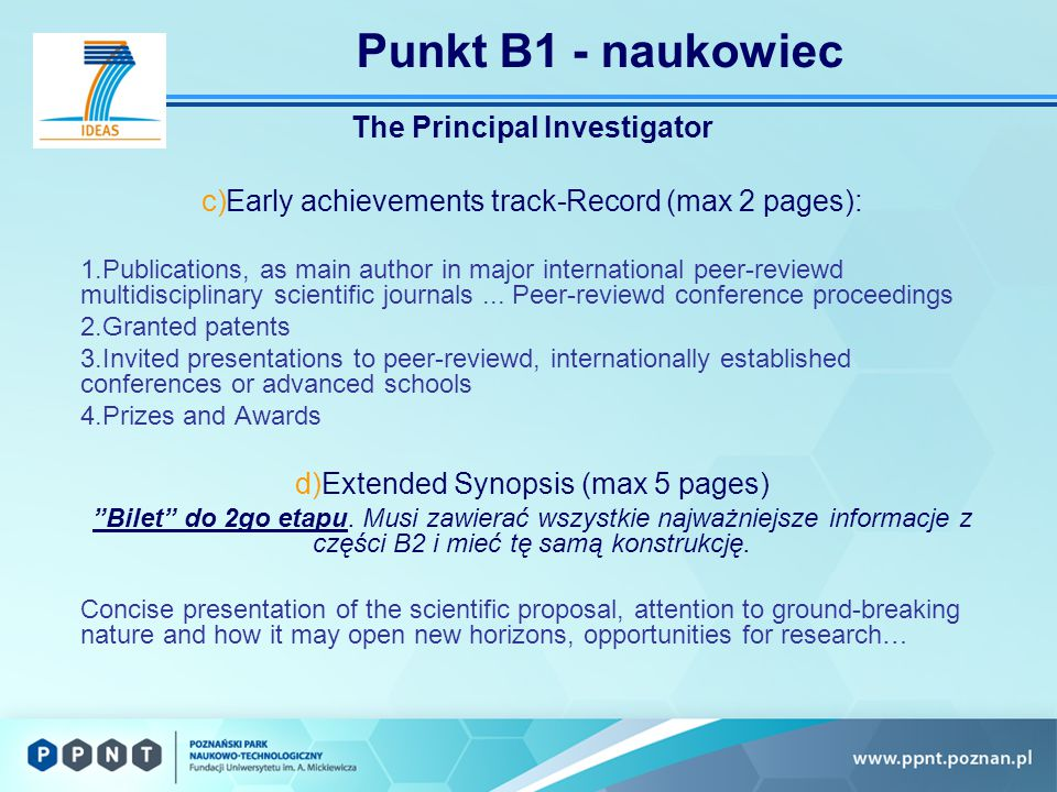 Punkt B1 - naukowiec The Principal Investigator c)Early achievements track-Record (max 2 pages): 1.Publications, as main author in major international peer-reviewd multidisciplinary scientific journals...