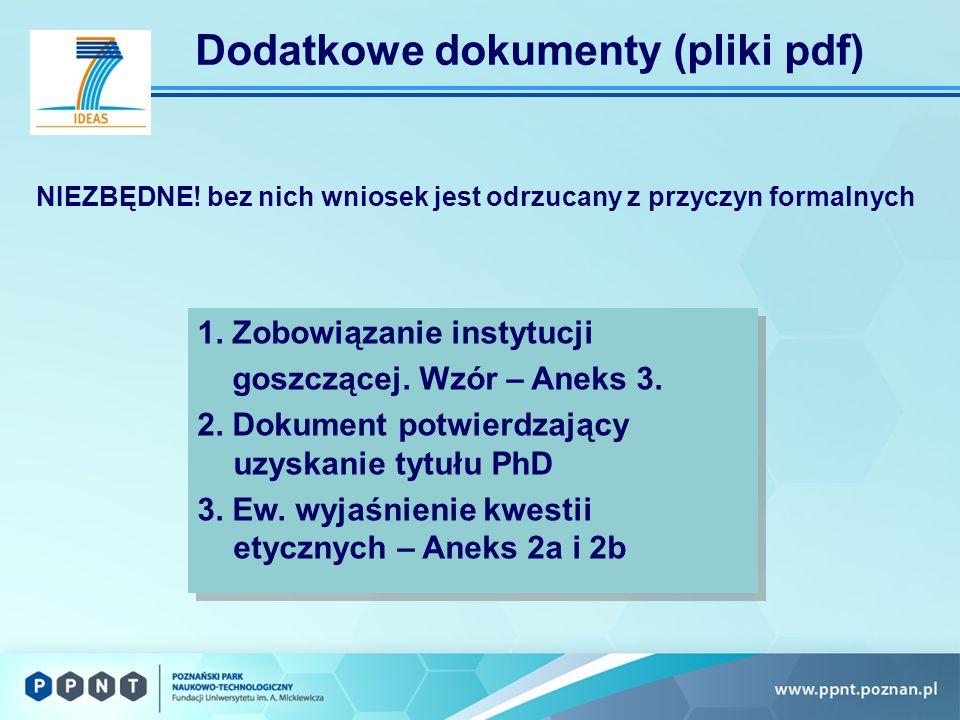 Dodatkowe dokumenty (pliki pdf) 1. Zobowiązanie instytucji goszczącej.