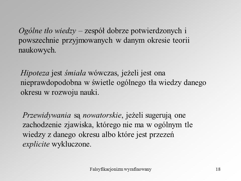Falsyfikacjonizm wyrafinowany18 Ogólne tło wiedzy – zespół dobrze potwierdzonych i powszechnie przyjmowanych w danym okresie teorii naukowych. Hipotez