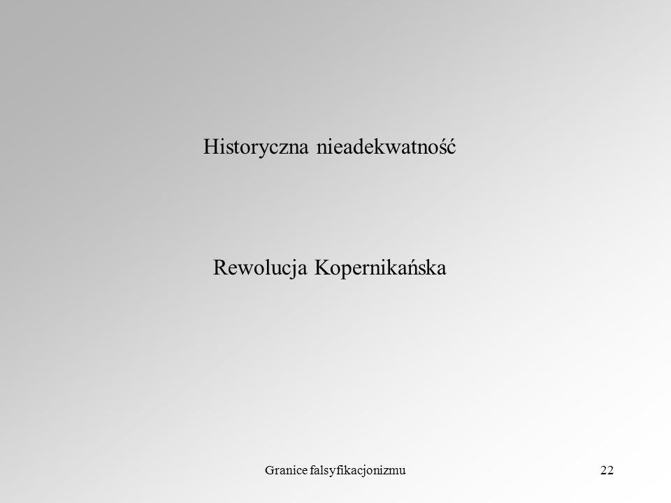 Granice falsyfikacjonizmu22 Historyczna nieadekwatność Rewolucja Kopernikańska
