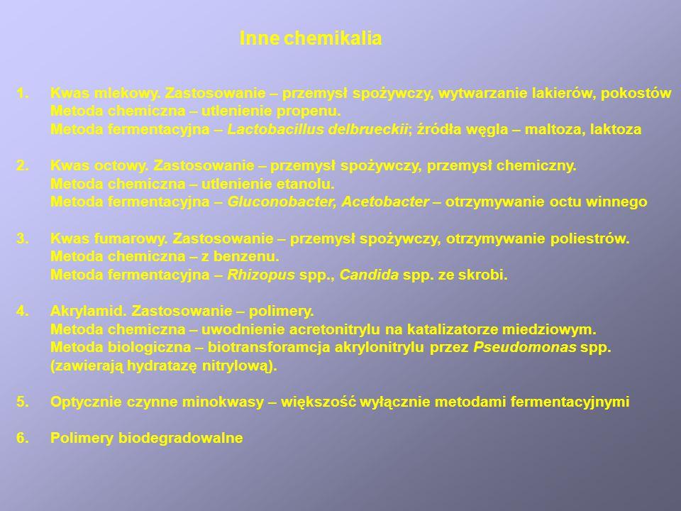 Kwas cytrynowy Zastosowanie – przemysł spożywczy (głównie), przemysł farmaceutyczny Pierwotnie izolowany z soku cytrynowego. Obecnie 99% z fermentacji