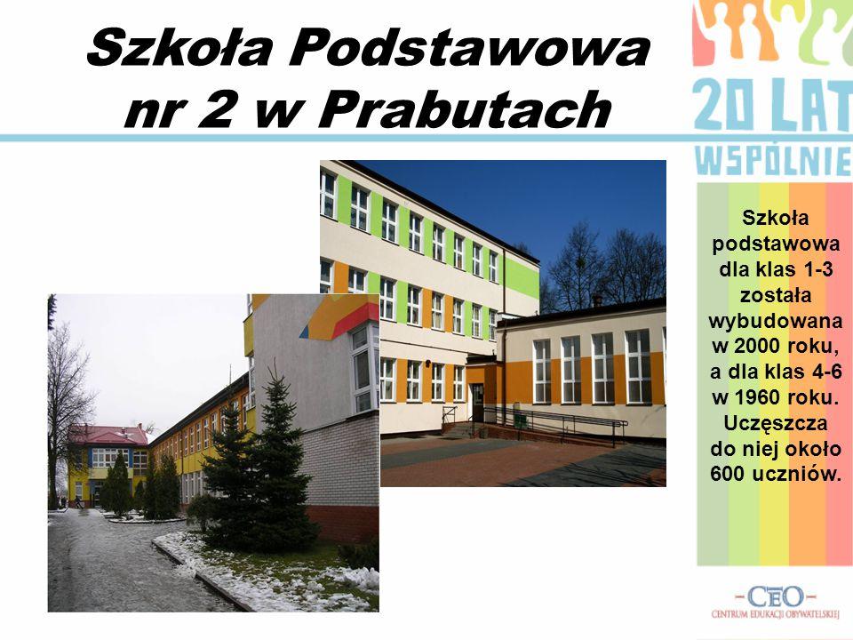 Szkoła Podstawowa nr 2 w Prabutach Szkoła podstawowa dla klas 1-3 została wybudowana w 2000 roku, a dla klas 4-6 w 1960 roku.