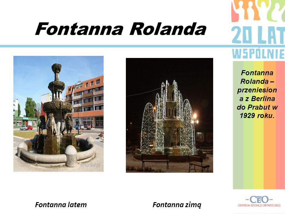 Fontanna Rolanda Fontanna Rolanda – przeniesion a z Berlina do Prabut w 1929 roku.
