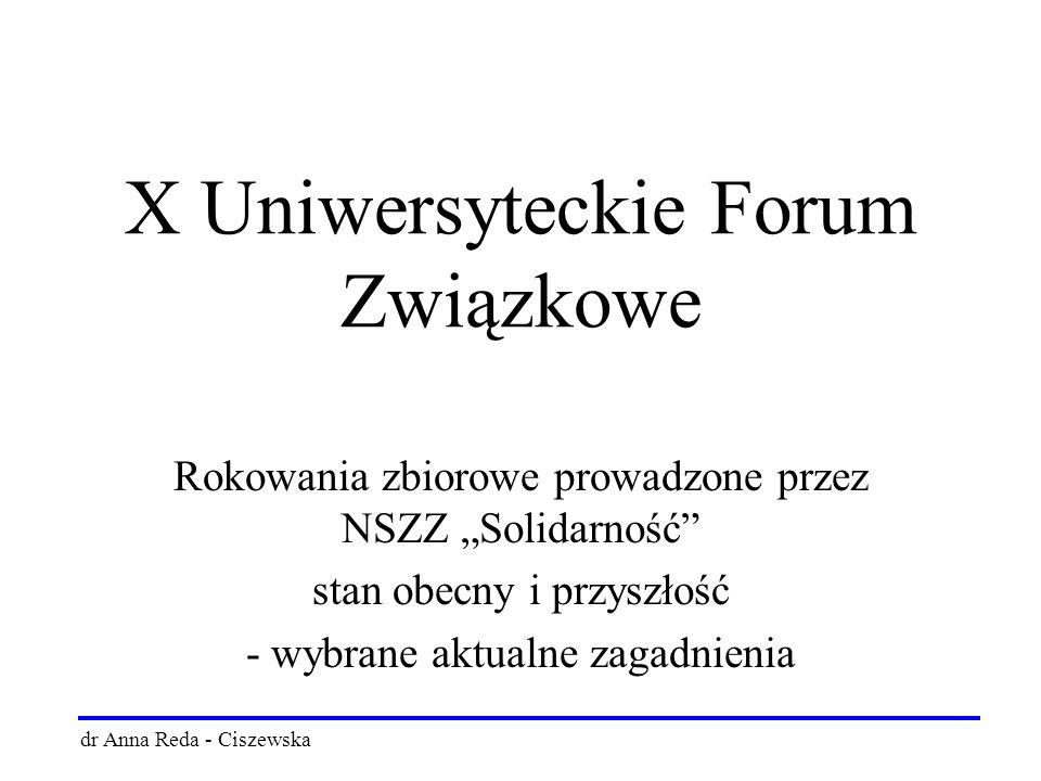 """X Uniwersyteckie Forum Związkowe Rokowania zbiorowe prowadzone przez NSZZ """"Solidarność stan obecny i przyszłość - wybrane aktualne zagadnienia dr Anna Reda - Ciszewska"""