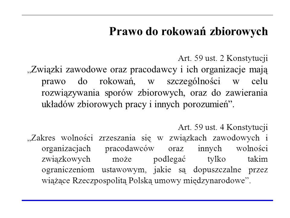 Prawo do rokowań zbiorowych Art. 59 ust.
