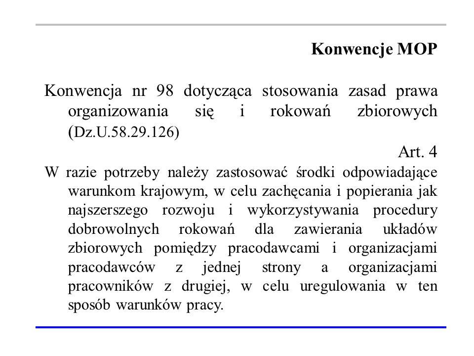 Konwencje MOP Konwencja nr 98 dotycząca stosowania zasad prawa organizowania się i rokowań zbiorowych ( Dz.U.58.29.126) Art.