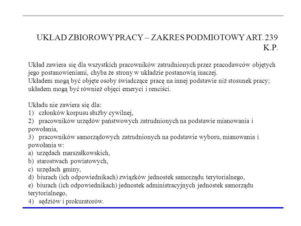 UKŁAD ZBIOROWY PRACY – ZAKRES PODMIOTOWY ART. 239 K.P.