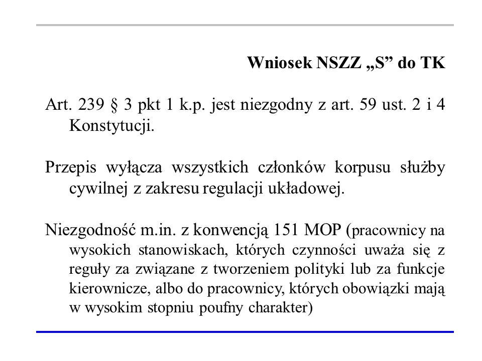 """Wniosek NSZZ """"S do TK Art. 239 § 3 pkt 1 k.p. jest niezgodny z art."""