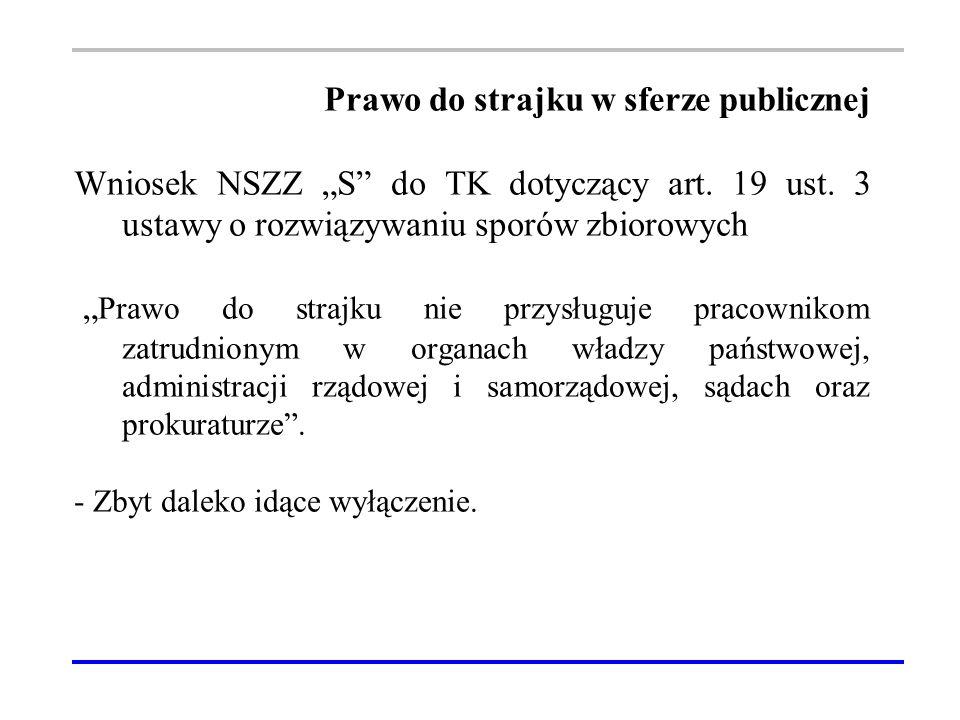 """Prawo do strajku w sferze publicznej Wniosek NSZZ """"S do TK dotyczący art."""