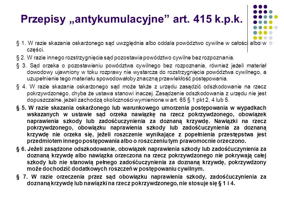 """Przepisy """"antykumulacyjne"""" art. 415 k.p.k. § 1. W razie skazania oskarżonego sąd uwzględnia albo oddala powództwo cywilne w całości albo w części. § 2"""