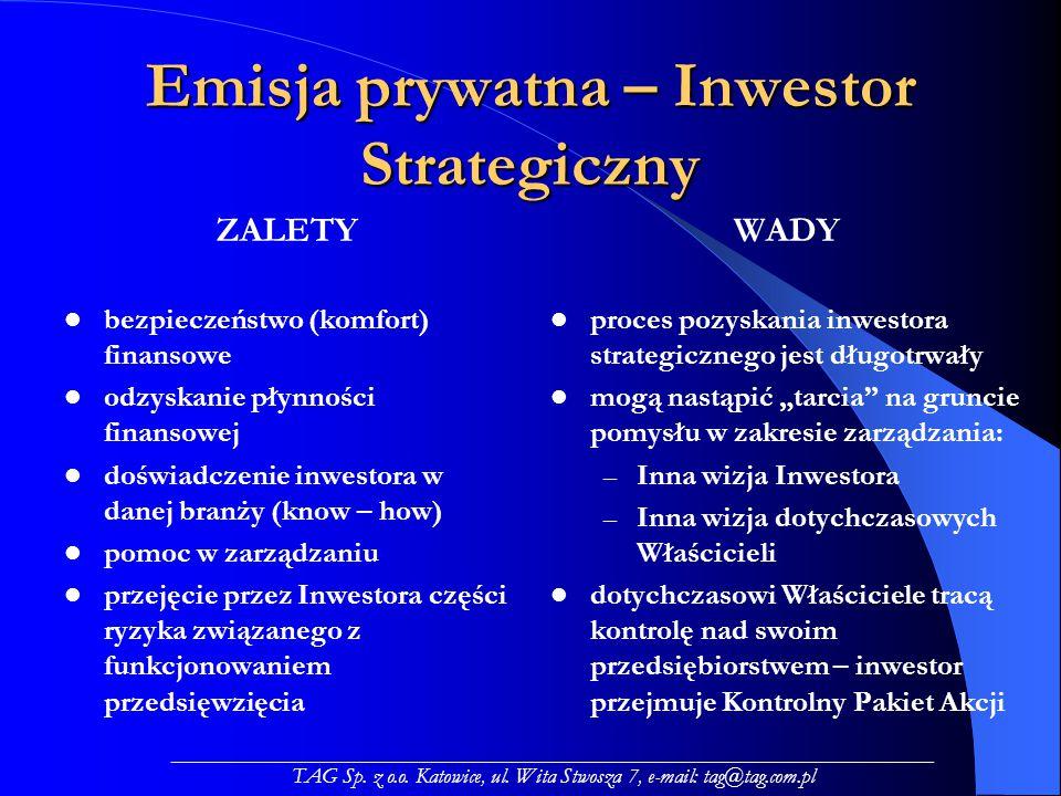 """Emisja prywatna – Inwestor Strategiczny ZALETY bezpieczeństwo (komfort) finansowe odzyskanie płynności finansowej doświadczenie inwestora w danej branży (know – how) pomoc w zarządzaniu przejęcie przez Inwestora części ryzyka związanego z funkcjonowaniem przedsięwzięcia WADY proces pozyskania inwestora strategicznego jest długotrwały mogą nastąpić """"tarcia na gruncie pomysłu w zakresie zarządzania: – Inna wizja Inwestora – Inna wizja dotychczasowych Właścicieli dotychczasowi Właściciele tracą kontrolę nad swoim przedsiębiorstwem – inwestor przejmuje Kontrolny Pakiet Akcji _____________________________________________________________________ TAG Sp."""