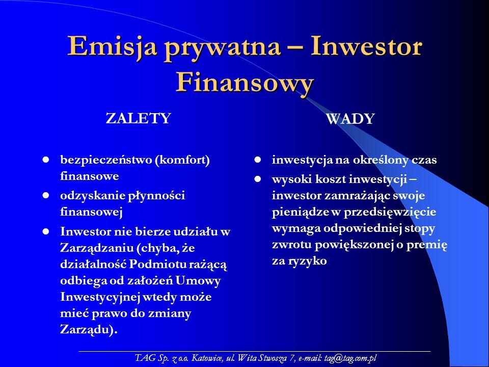 Emisja prywatna – Inwestor Finansowy ZALETY bezpieczeństwo (komfort) finansowe odzyskanie płynności finansowej Inwestor nie bierze udziału w Zarządzaniu (chyba, że działalność Podmiotu rażącą odbiega od założeń Umowy Inwestycyjnej wtedy może mieć prawo do zmiany Zarządu).