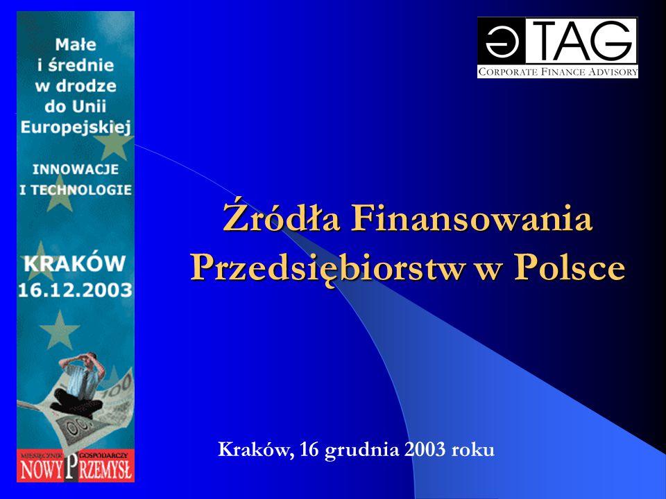Źródła Finansowania Przedsiębiorstw w Polsce Kraków, 16 grudnia 2003 roku