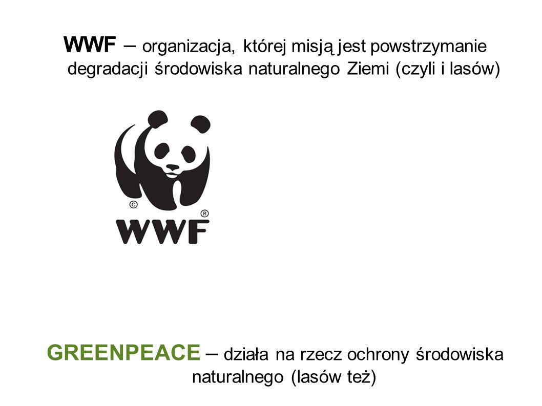 WWF – organizacja, której misją jest powstrzymanie degradacji środowiska naturalnego Ziemi (czyli i lasów) GREENPEACE – działa na rzecz ochrony środowiska naturalnego (lasów też)