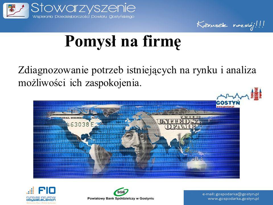 Pomysł na firmę Zdiagnozowanie potrzeb istniejących na rynku i analiza możliwości ich zaspokojenia.