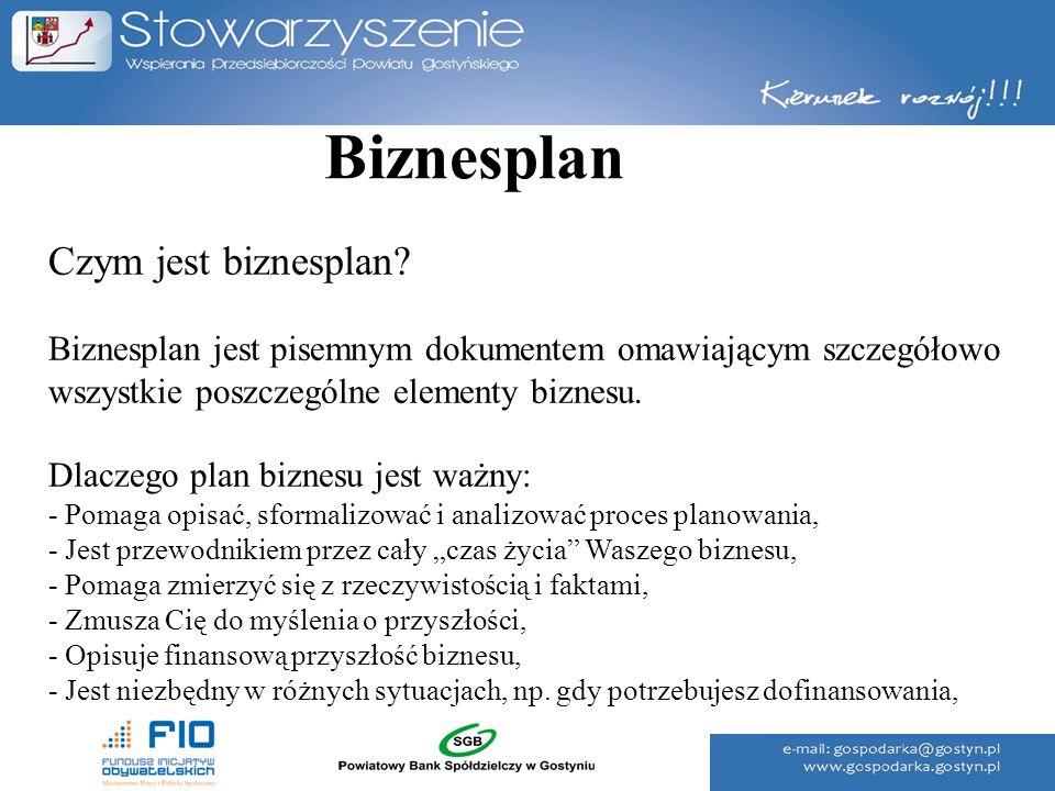 Biznesplan Czym jest biznesplan? Biznesplan jest pisemnym dokumentem omawiającym szczegółowo wszystkie poszczególne elementy biznesu. Dlaczego plan bi