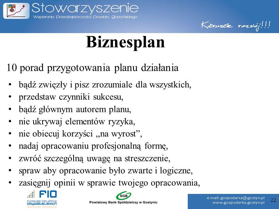 22 10 porad przygotowania planu działania bądź zwięzły i pisz zrozumiale dla wszystkich, przedstaw czynniki sukcesu, bądź głównym autorem planu, nie u