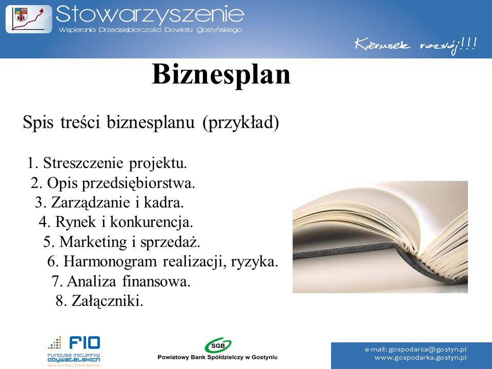 Spis treści biznesplanu (przykład) 1. Streszczenie projektu. 2. Opis przedsiębiorstwa. 3. Zarządzanie i kadra. 4. Rynek i konkurencja. 5. Marketing i