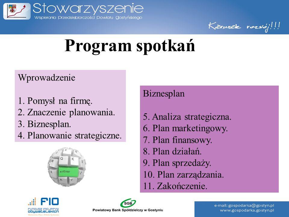 Program spotkań Wprowadzenie 1. Pomysł na firmę. 2. Znaczenie planowania. 3. Biznesplan. 4. Planowanie strategiczne. Biznesplan 5. Analiza strategiczn
