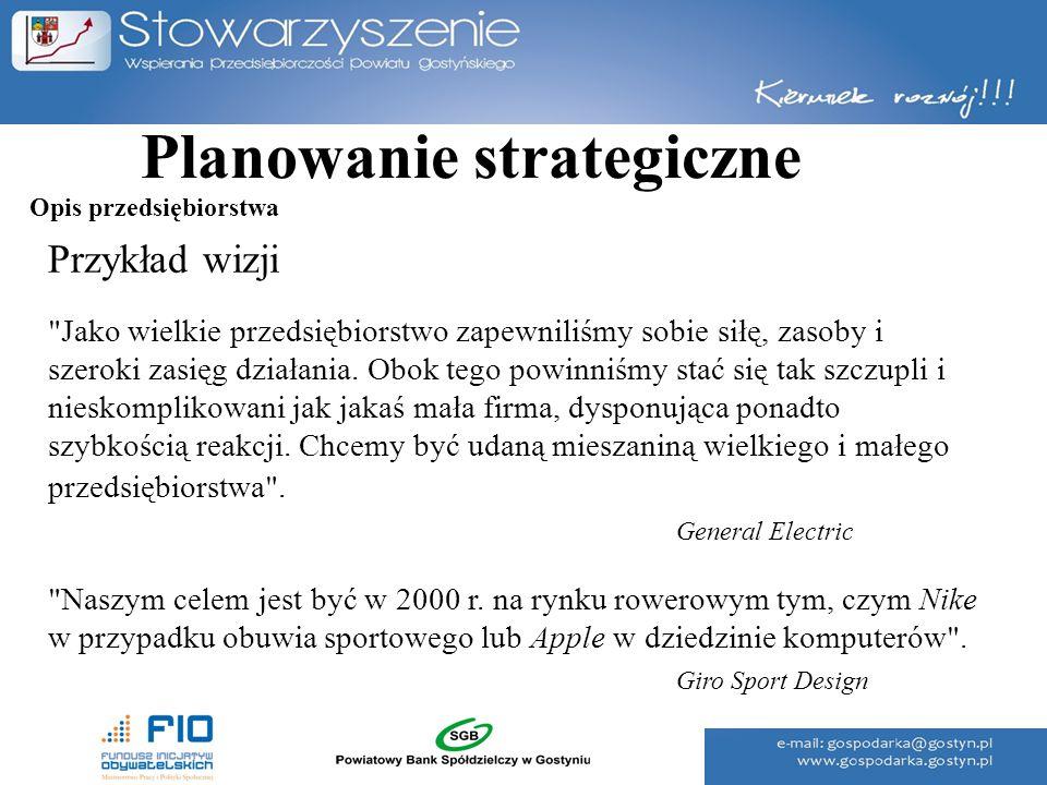 Planowanie strategiczne Przykład wizji