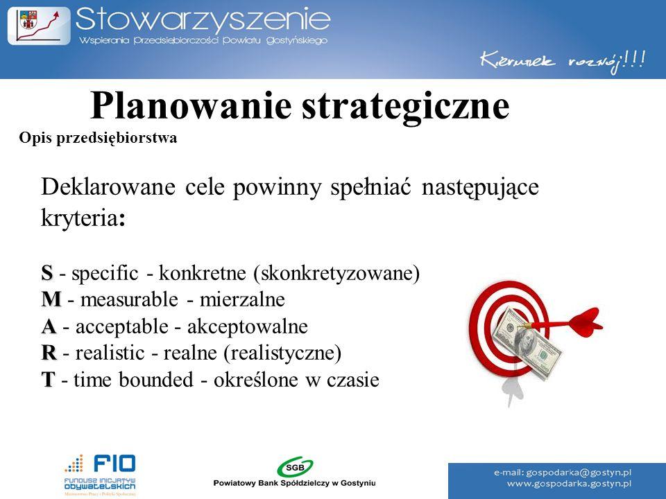 Planowanie strategiczne Deklarowane cele powinny spełniać następujące kryteria: S S - specific - konkretne (skonkretyzowane) M M - measurable - mierza