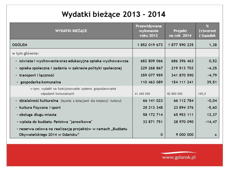 W 2014 roku zakłada się wzrost (w stosunku do roku 2013) wydatków bieżących w następujących obszarach:  edukacja – 3 587 397 zł  gospodarka odpadami komunalnymi ( dochody z opłat – 82 800 000 zł) - wydatki - 82 800 000 zł ( w roku 2014 realizacja zadania przez 12 m-cy natomiast w roku 2013 przez 6 m-cy)