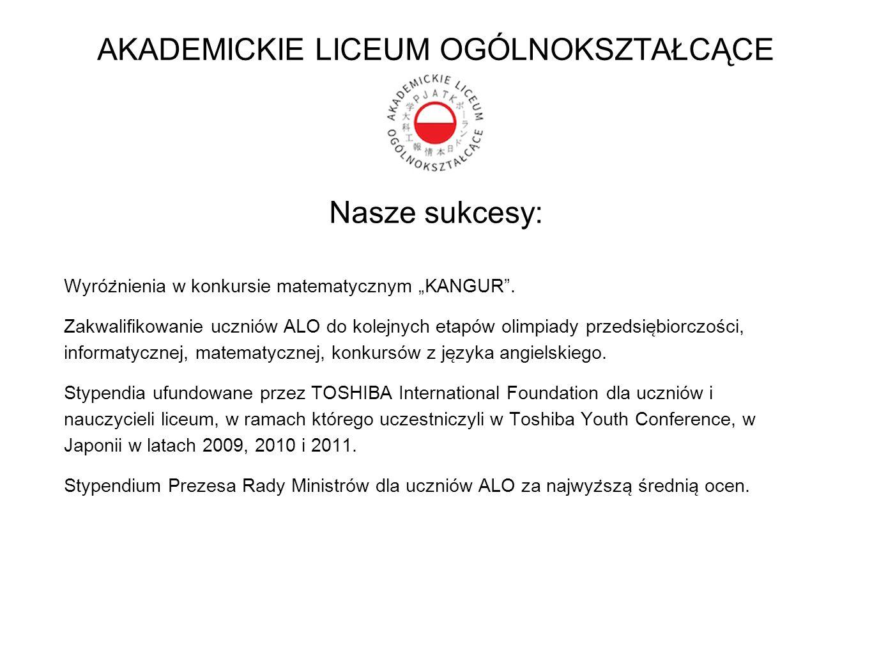 """Nasze sukcesy: Wyróz ̇ nienia w konkursie matematycznym """"KANGUR"""". Zakwalifikowanie uczniów ALO do kolejnych etapów olimpiady przedsie ̨ biorczości, i"""
