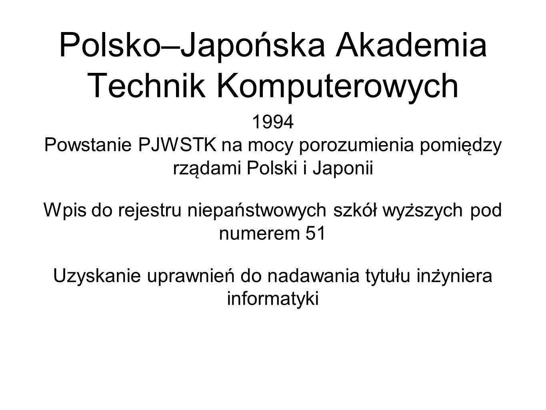 1994 Powstanie PJWSTK na mocy porozumienia pomie ̨ dzy rza ̨ dami Polski i Japonii Wpis do rejestru niepaństwowych szkół wyz ̇ szych pod numerem 51 Uzyskanie uprawnień do nadawania tytułu inz ̇ yniera informatyki